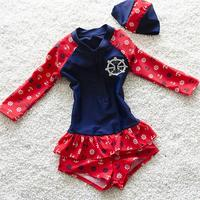 Europe Popular Kids Swimsuit Quality Girls Swimwear Teenagers One Pieces Lovely Long Sleeve Bath Suit Infant