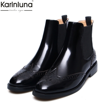 Women's 2019 Brand design genuine leather Ankle Boots Women Shoes fashion brogue chelsea boots female shoes Woman