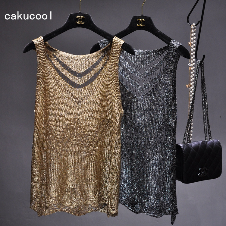 Cakucool Women Gold Lurex knit Tank top Sexy Hollow out Camisole O-neck Holes Bling Back ...