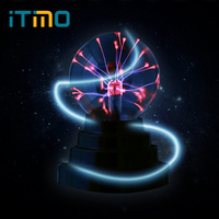 ITimo Creative Magic Plasma Ball Light Electrostatic Induction Sphere Light Crystal Black Base Novelty Lighting USB