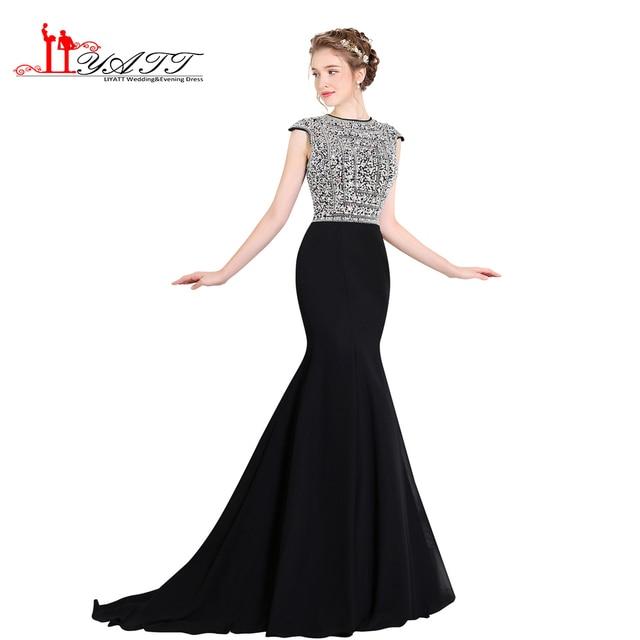 LIYATT 2017 New Black Chiffon Arabic Vintage Prom Dresses Elegant Sexy  Mermaid Crystal Amazing Formal Evening Gown 0aaac6c2f693