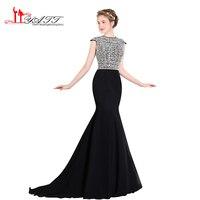 LIYATT 2017 New Black Chiffon Arabic Vintage Prom Dresses Elegant Sexy Mermaid Crystal Amazing Formal Evening Gown