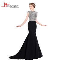 LIYAT Robe De Soiree 2017 New Design Black Chiffon Arabic Vintage Prom Dresses Sexy Mermaid Amazing