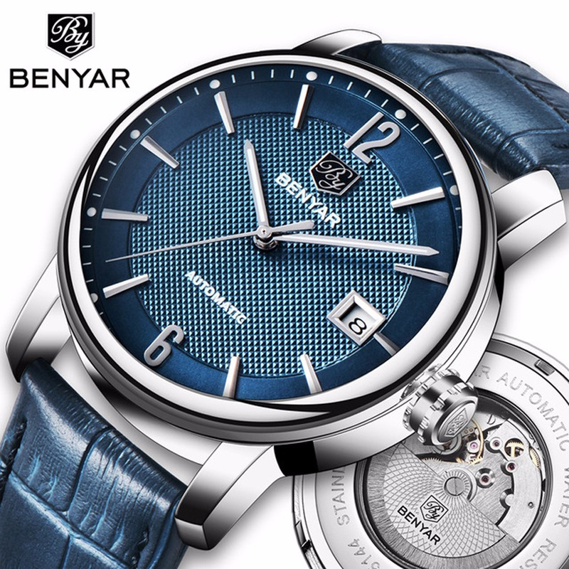 0fe362d0742 BENYAR 2018 New Fashion Top Luxury Brand Leather Watch Automatic Men  Wristwatch Men Mechanical Steel Watches