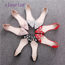 Bow results frozen beach sandals ladies pointed crystal transparent bow sandals ladies red flat wedding shoes summer ol shoes bow decorated flat sandals with crystal