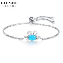 ELESHE Blue Opal Crystal Bracelets For Women Unique Silver Chain Bracelet Small Crab Charm Jewelry 2018 New(China)