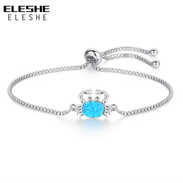 ELESHE Blue Opal Crystal Bracelets For Women Unique Silver Chain Bracelet  Small Crab Charm Jewelry 2018 New