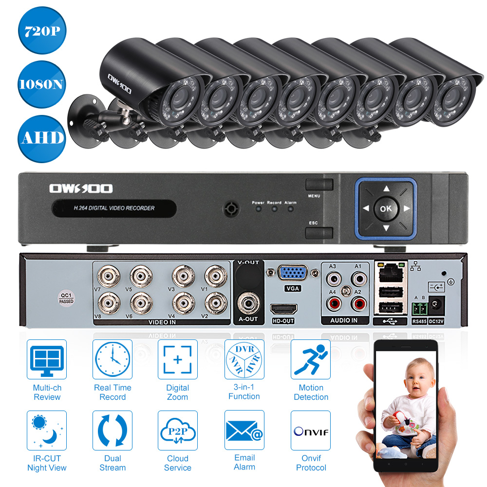 OWSOO 8CH 1080P Network AHD DVR 8*720P Bullet CCTV Camera 8*60ft Cable CCTV Kit