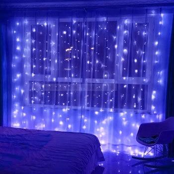 Foxanon 3X3 متر أكاليل عيد الميلاد LED سلسلة عيد الميلاد مصابيح شبكية الجنية عيد الميلاد حزب حديقة الزفاف ستائر زخرفية أضواء ليلية