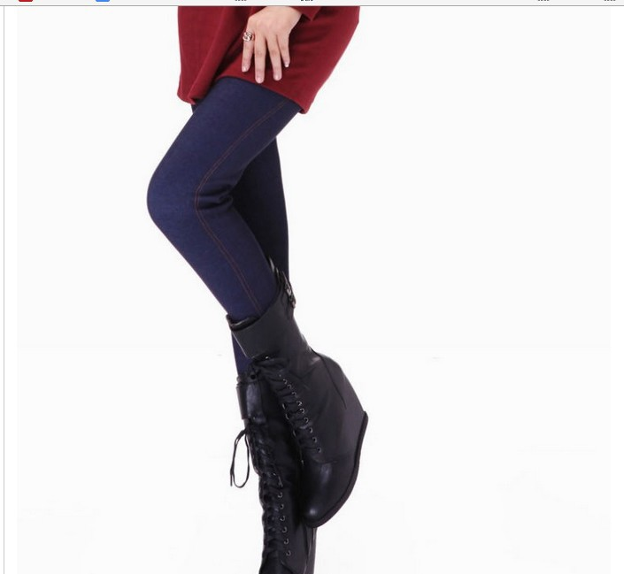 20pcs EMS New Winter Women Ankle Length Warm Velvet Leggings Thicken Pants Imitate Jeans XL Free Shipping