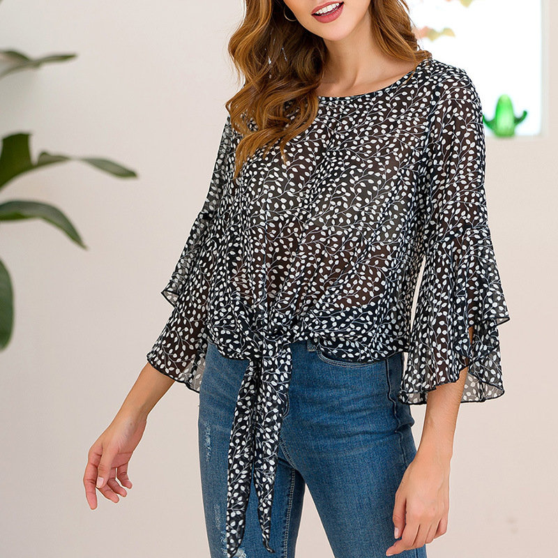 New leaf printing chiffon blouse round neck loose lotus leaf sleeve hollow women elegant vintage summer women blouse 2019 in Blouses amp Shirts from Women 39 s Clothing