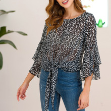 New leaf printing chiffon blouse round neck loose lotus sleeve hollow women elegant vintage summer 2019
