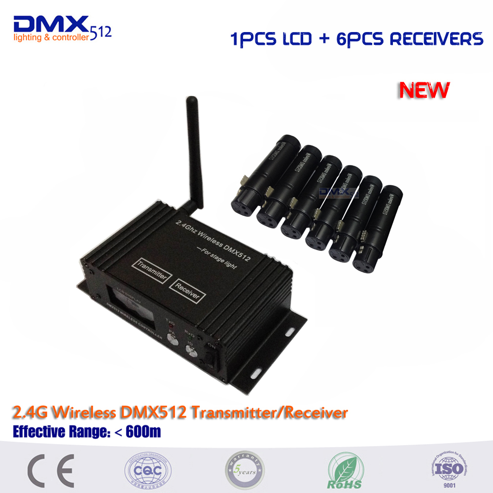 DHL Free shipping 7PCS/LOT 2.4Ghz 126Ch LCD Display Wireless DMX512 DJ system Receiver & Transmitter Xmas Controller wireless buzzer system k 236 o1 g h for restaurant with 1 key call button and display receiver dhl free shipping