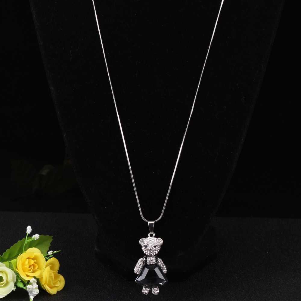 Bonsny Стразы-опалы, милое платье, ожерелье с медведем, Короткая подвеска на ожерелье, ювелирные изделия из хрустального сплава для женщин, девочек, подростков, новинка, подарок