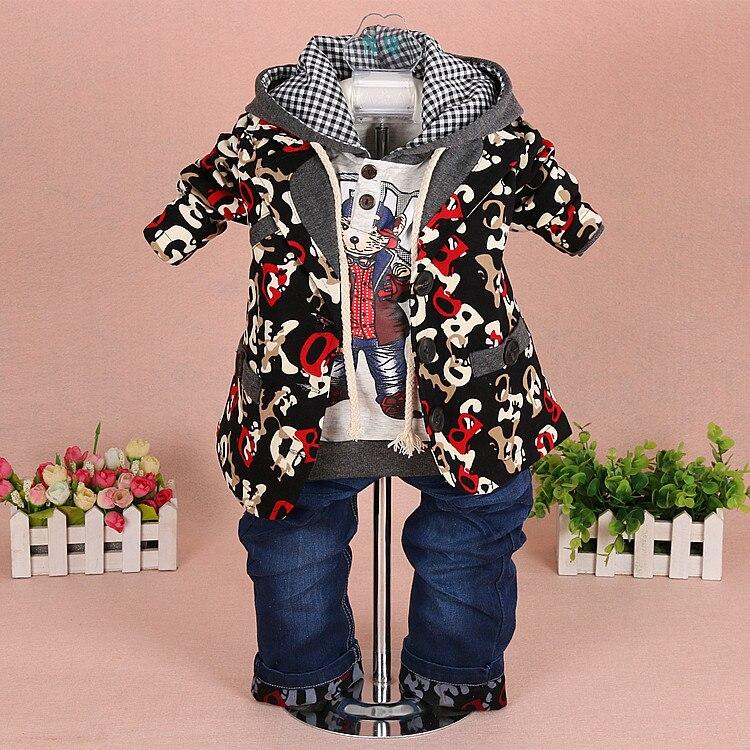 0-3Y new 2015 autumn boys high quality fashion cartoon clothing sets 3pcs kids clothes sets boys hood kids casual garment