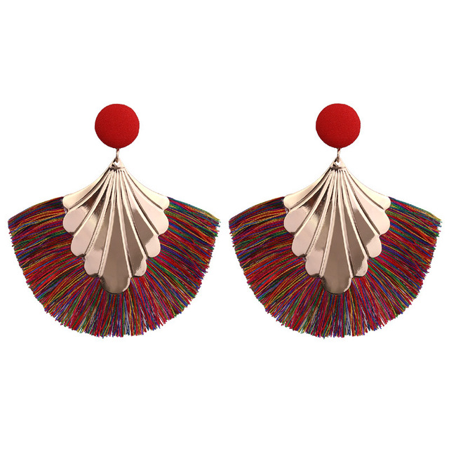 Fan Fringe Tassel Earrings For Women
