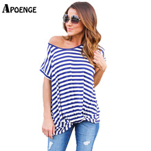 Hot Sale 2017 New Summer Striped Loose T Shirts for Woman Cold Shoulder Short Sleeve Casual tee shirt Femme blusa tops QN114