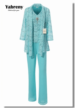 Yabreny NEW ARRIVAL Mother of the Bride Pantsuit with lace jacket Wedding party wear Aqua outfit Plus size MT001706