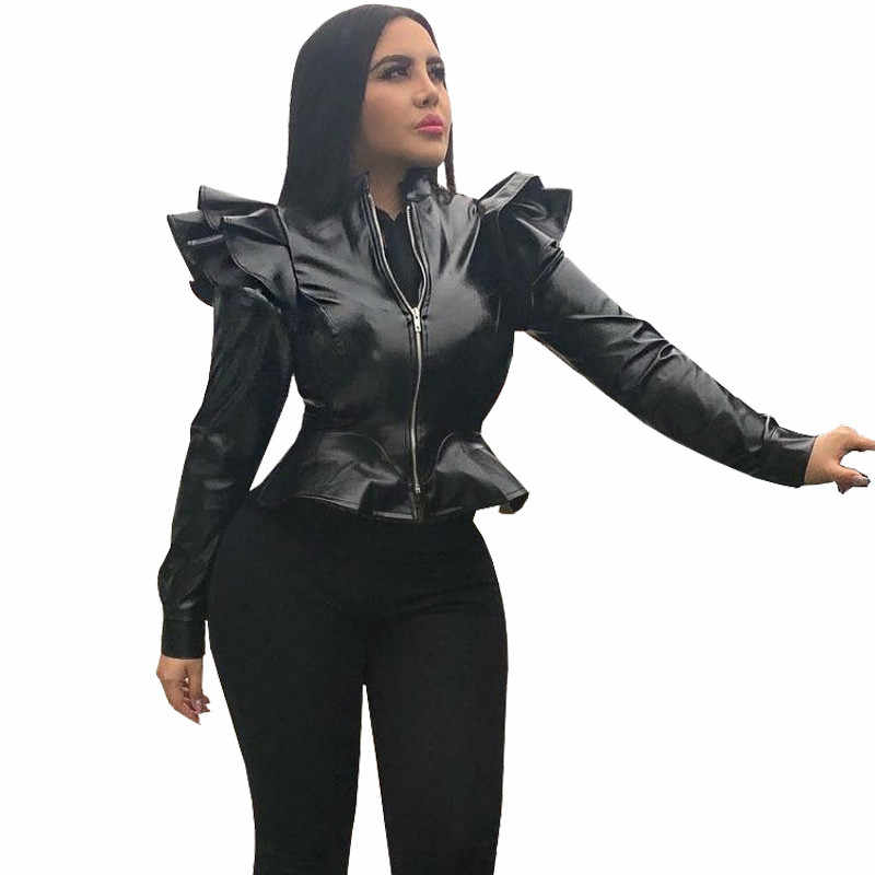 Black Faux Leather Bomber Jacket Women Long Sleeve Zipper Ruffle Shrug Motorcycle Jackets Slim Short Coats and Jackets Outerwear