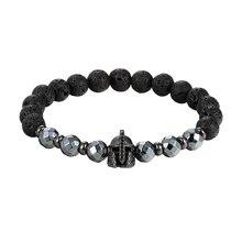 JAAFAR мини мощения Черный CZ Йога браслет воин шлем гладиатора браслет для мужчин черный шлифовальный мужской ювелирный браслет AS402