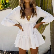 Deep V neck Beach Cover up Sarong White Cotton Beach Dress Tunic Bikini cover up Kaftan Beach Swimsuit cover up Saida de Praia все цены