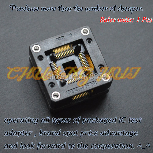 OTQ-48-0.75-01 test socket TQFP48/QFP48/LQFP48/CQFP48 ic socket  Pitch=0.75mm Size=10x10mm/13x13mm tms320f28335 tms320f28335ptpq lqfp 176