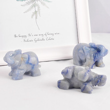 3 pieces blue aventurine elephant figurines craft carved Mini animals stones and crystals statues for room decoration