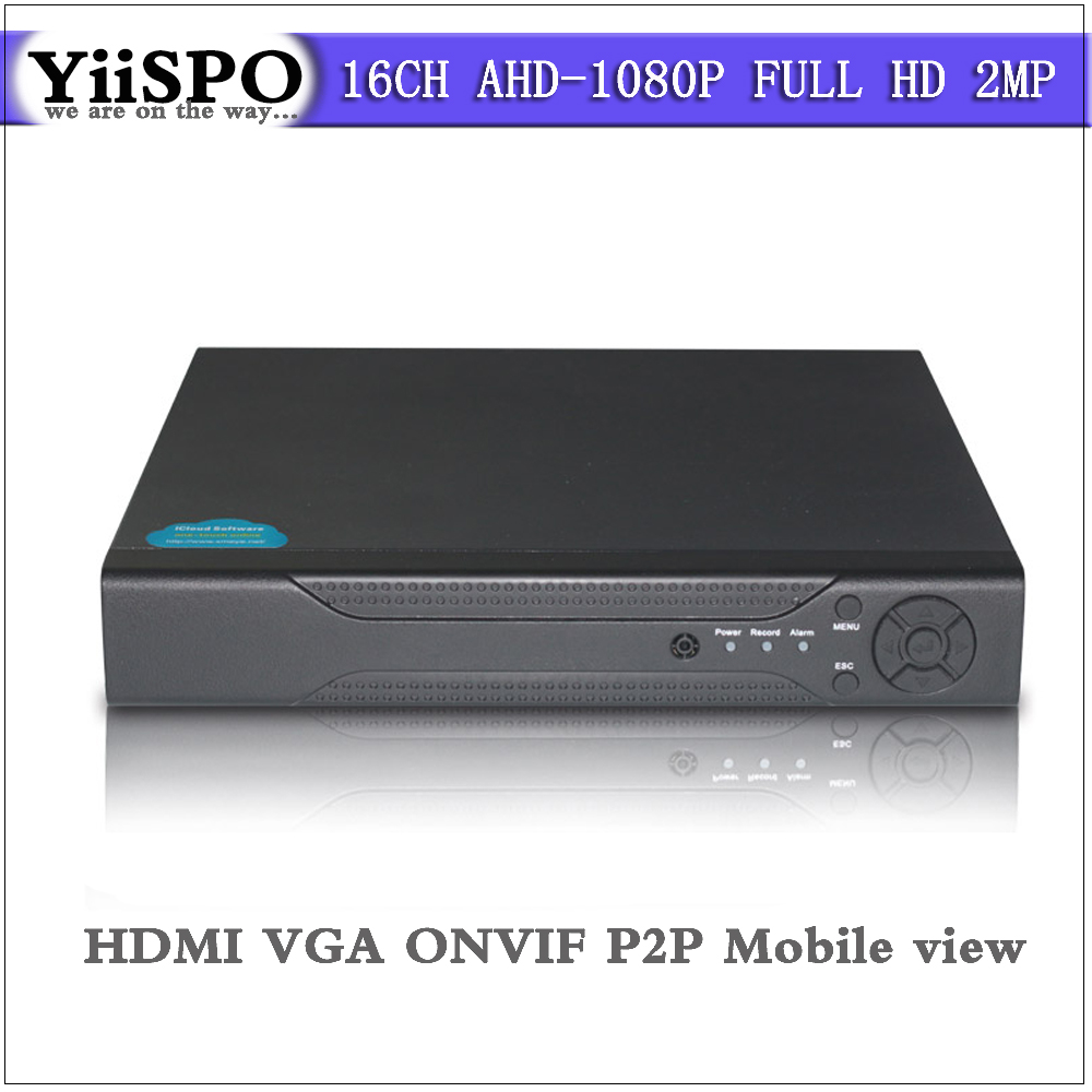 YiiSPO Home surveillance 16ch FULL HD AHD 1080N security CCTV DVR recorder HDMI 2MP 1080P 16 channel standalone ONVIF P2P