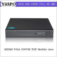 YiiSPO Home surveillance 16ch FULL HD AHD 1080P security CCTV DVR recorder HDMI 2MP 1080P 16 channel standalone ONVIF P2P Xmeye
