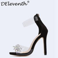 DEleventh 2018 New Bohemian Women Sandals Crystal High Heels Sandalias Rhinestone Transparent PVC Women Shoes Zapato