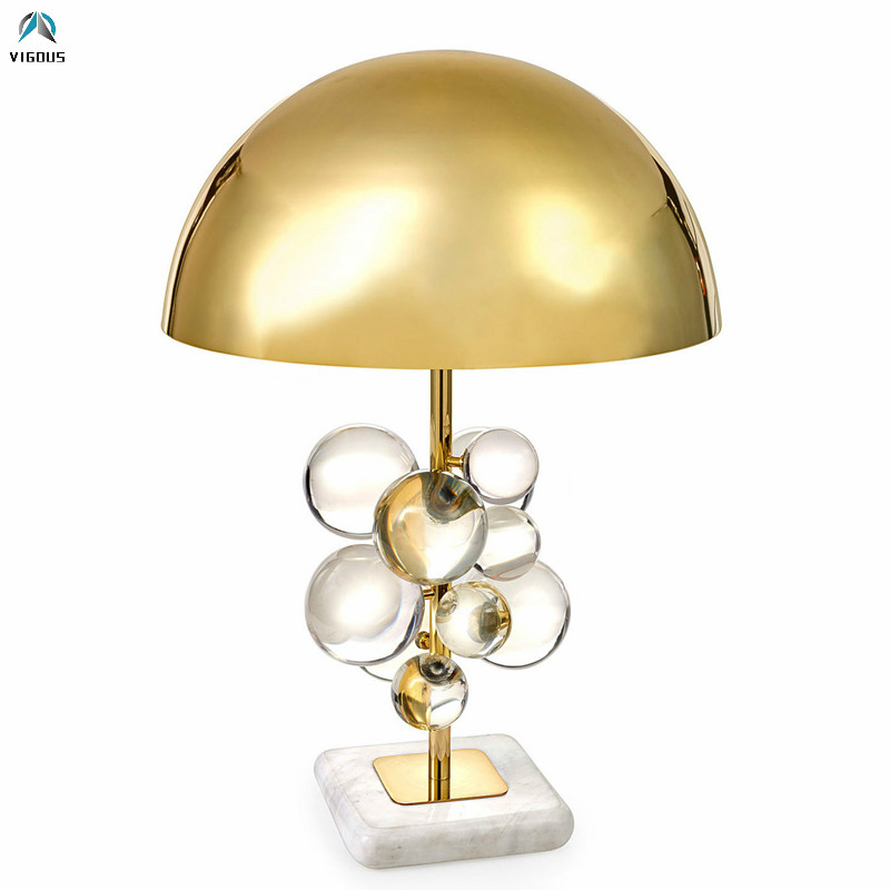 Us 237 84 39 Off Post Modern Art Deco Led Desk Lamp Plate Gold Metal Lustre Luminarias Acrylic Balls Table Lamp For Study Room Decorate Lamparas In
