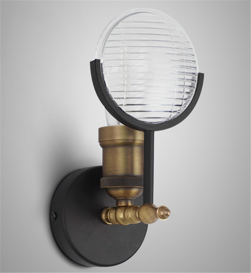 Free shipping black finished brass polished glass shade 120mm wall lamp fixture room shop bedroom beside light home decoration free shipping brass finished e27 industrial edison wall lamp antique copper vintage beside lighting ac90 250v for bedroom