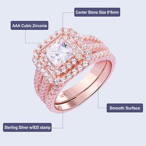 Image 5 - Newshe 2 ชิ้น Rose Gold สีงานแต่งงานชุดแหวนสำหรับผู้หญิง 925 เงินสเตอร์ลิงแหวนหมั้น Princess CUT AAA CZ แฟชั่นเครื่องประดับ