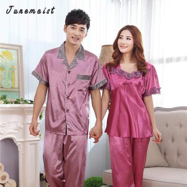 M-XXXL Albornoz Pajamas Set de Manga corta Gira el Collar Abajo Mens Pijama de Satén de Un Solo Pecho Sexy ropa de Dormir Pijamas Para Hombres