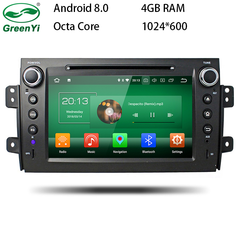GreenYi Android 8.0 8 Core 4G RAM Car DVD GPS For SUZUKI SX4 2006 2007 2008 2009 2010 2011 2012 WIFI Autoradio Multimedia Stereo dasaita android 8 0 autoradio for mazda 6 nvaigation 2006 2007 2008 2009 2010 2011 2012 support steering wheel control 1080p dab