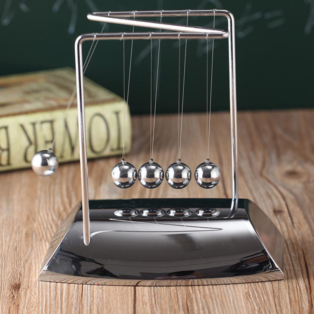 Creative Z-shaped Electroplating Base Solid Steel Balls Newton Billiards Decorative Desk Decoration Newton Pendulum Big Size