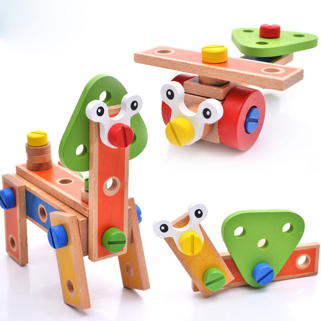 Baby DIY Wooden Cartoon Nut BlocksToys Kids Brain Train Car Chair Animals Deformable Handmade Children Educational Toys ZS073