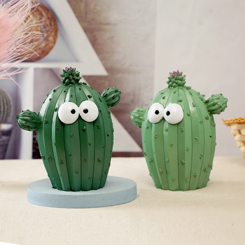 Cute Cartoon Cactus Money Boxes Unique Fun Plant Resin Piggy Bank Saving Creative Home Decoration