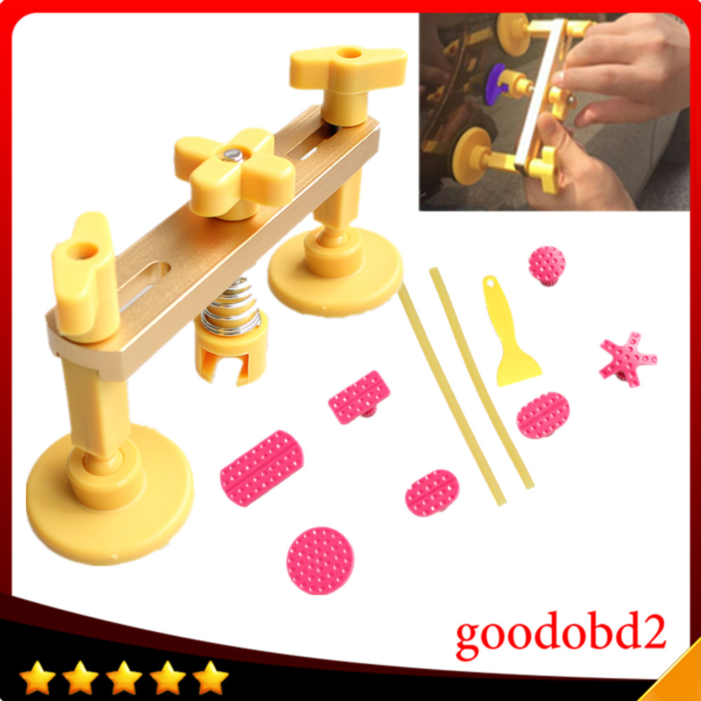 Car Dent Yellow bridge Auto Body Paintless Dent Removal Tools PDR Tools with 7x Different Size PDR Glue Tabs+ 2x glue sticks