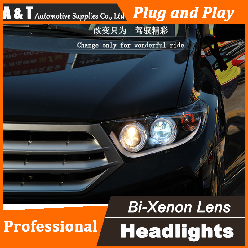 Car Styling 2012-2014 Headlights for Toyota Highlander LED Headlight angel eyes led drl H7 hid Bi-Xenon Lens low beam xenon полет и капризы гения миниатюры