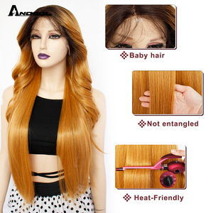 Image 5 - Anogol Brown Long Body Wave Synthetic Lace Front Wigs Futura Fiber  Gold Blonde For Women Heat Resistant Black Pre Plucked