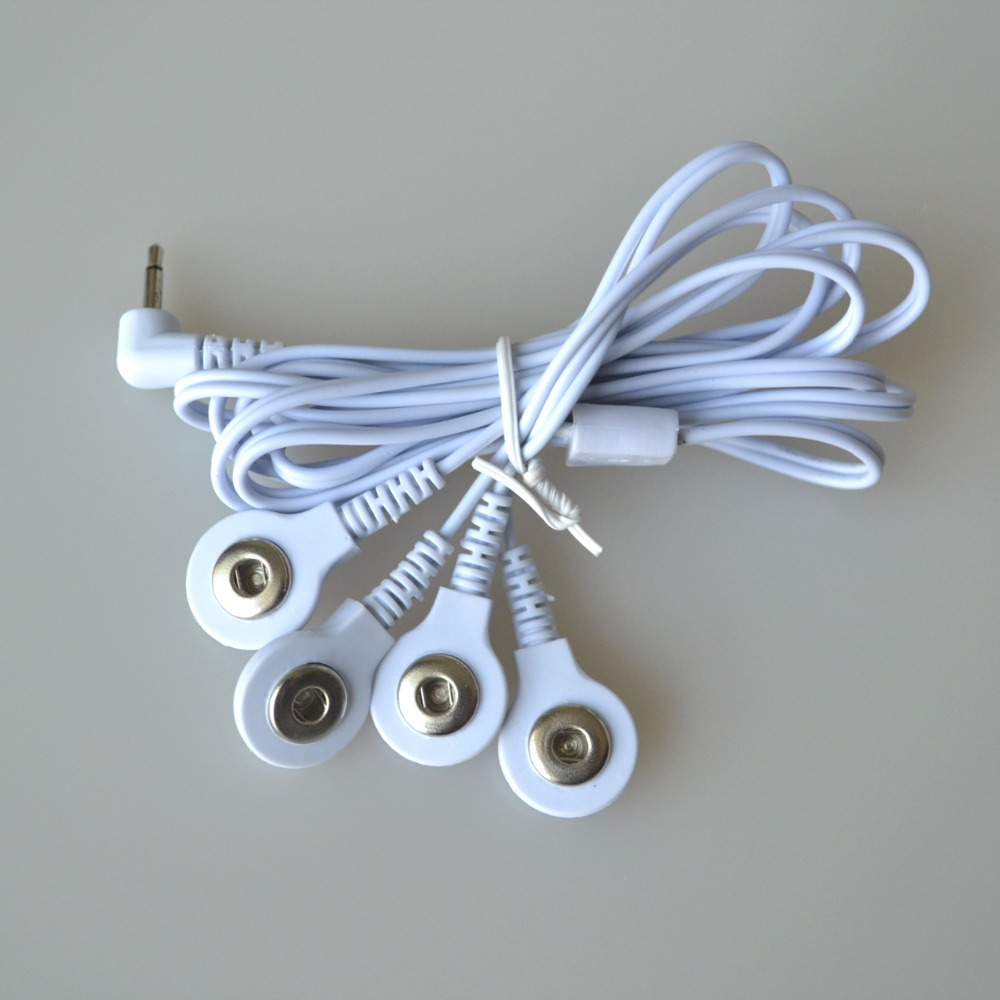 20Pcs/Pack Healthcare Electrode Lead Wires Connecting Cables With 4 Buttons For TENs Therapy Massager Body Relaxtion Machine