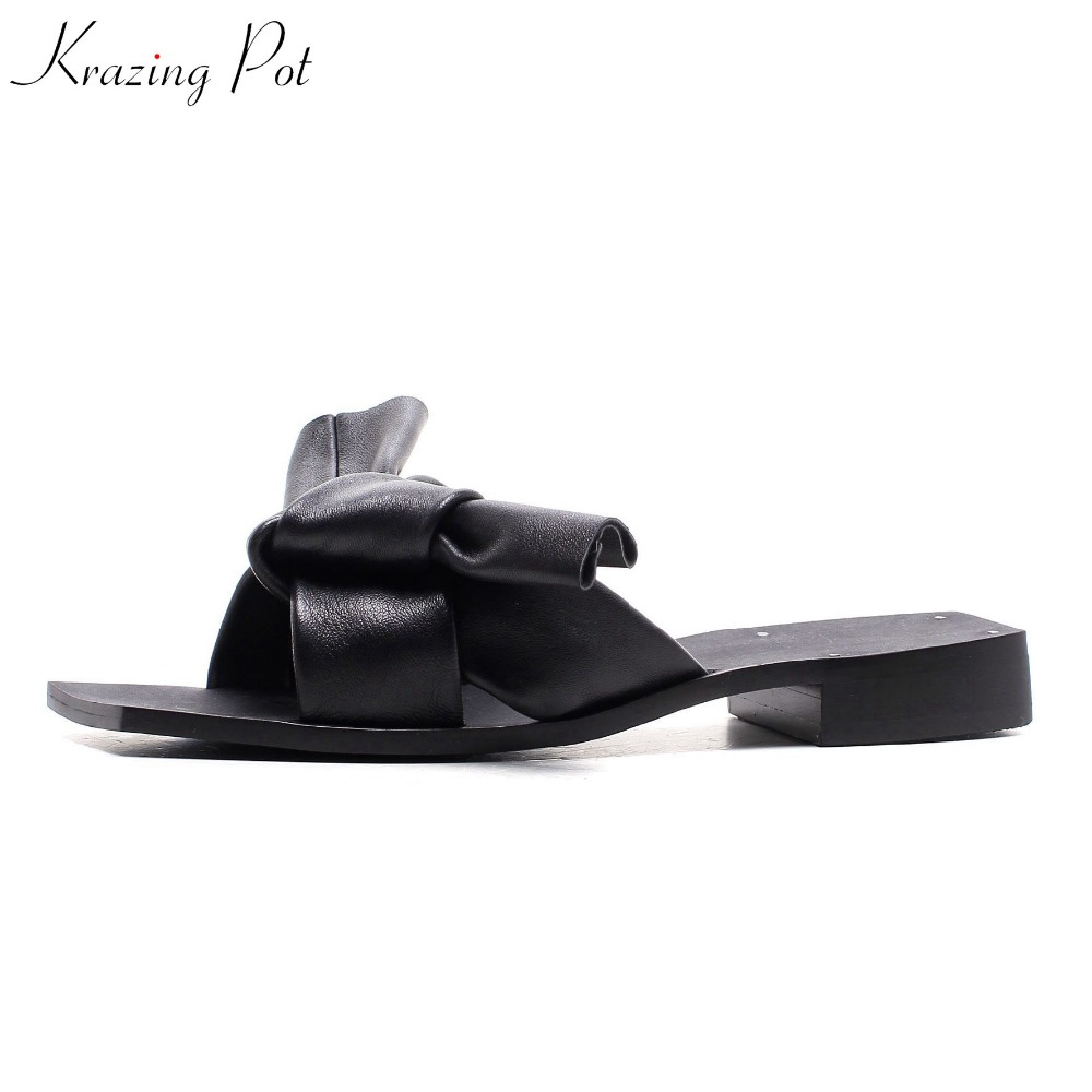 Krazing Pot new summer sheep leather peep toe women outside slippers bowtie sweet preppy style beauty lady superstar sandals L56 krazing pot shoes women full grain leather mules hollywood peep toe metal chain decorations sandals summer outside slippers l88