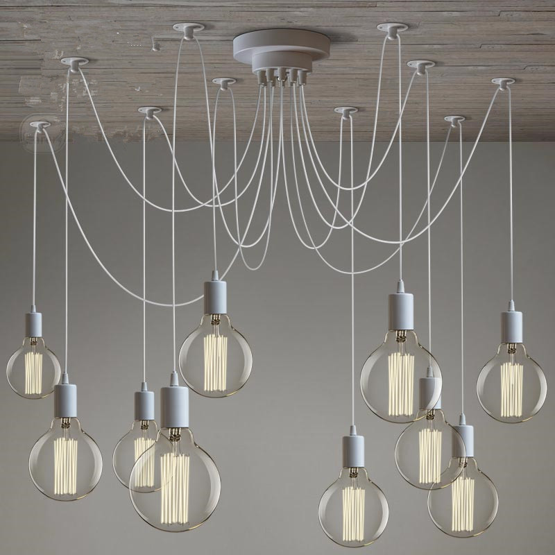 LOFT Modern White Lustre Chandeliers 6-10 Arms Retro Adjustable Edison Bulb DIY E27 Art Spider Lamp Luminaire Fixture