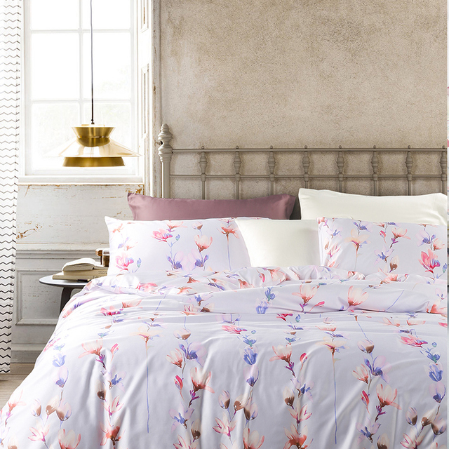 Amazing Adream 45% Cotton 55% Bamboo Fiber Bedding Set, Magnolia Flower Printing  Duvet Cover