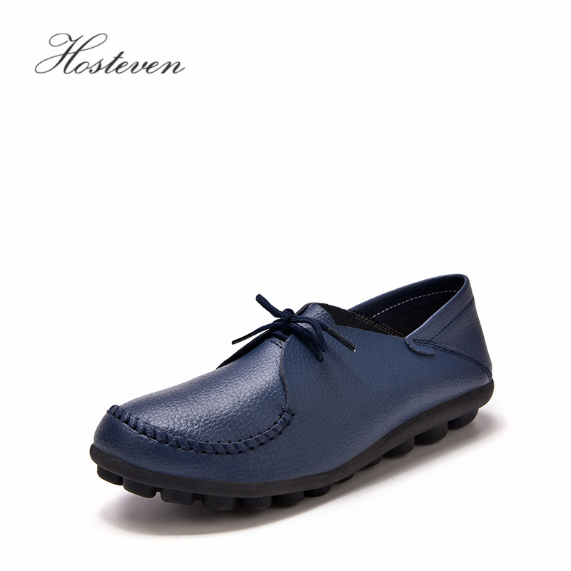 Hosteven Women's Shoes Genuine Leather Flats Shoes Female Casual Flat Woman Loafers Leather Black Flat Plush Shoes