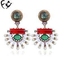 FY81115 European and American fashion retro luxury color fan-shaped jewelry earrings with pearl earrings.