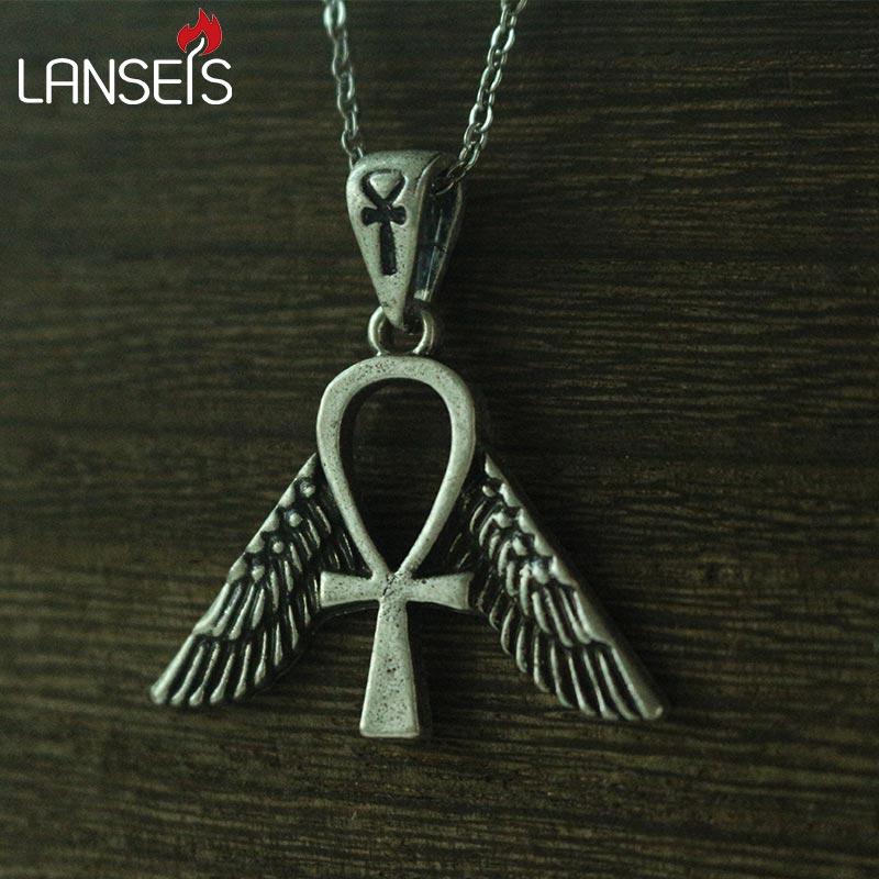 Lanseis 1pcs Egyptian Jewelry Freedom Ankh Symbol Men Pendant Women