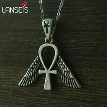 lanseis 1pcs Egyptian Jewelry, Freedom Ankh Symbol men Pendant women necklace Stainless steel chain(China)