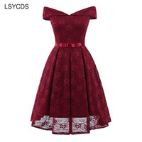 LSYCDS Wine Red Lace Dress 2018 Summer Elegant Lady 1950s Bow Vintage Dress Women Sexy Slash